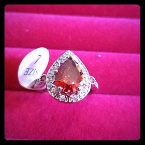 Jewelry - Marquise Sterling 925 Stamped Red Stone